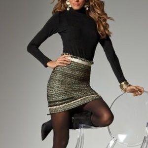 Boston Proper Tweed Fringe Zipper Skirt